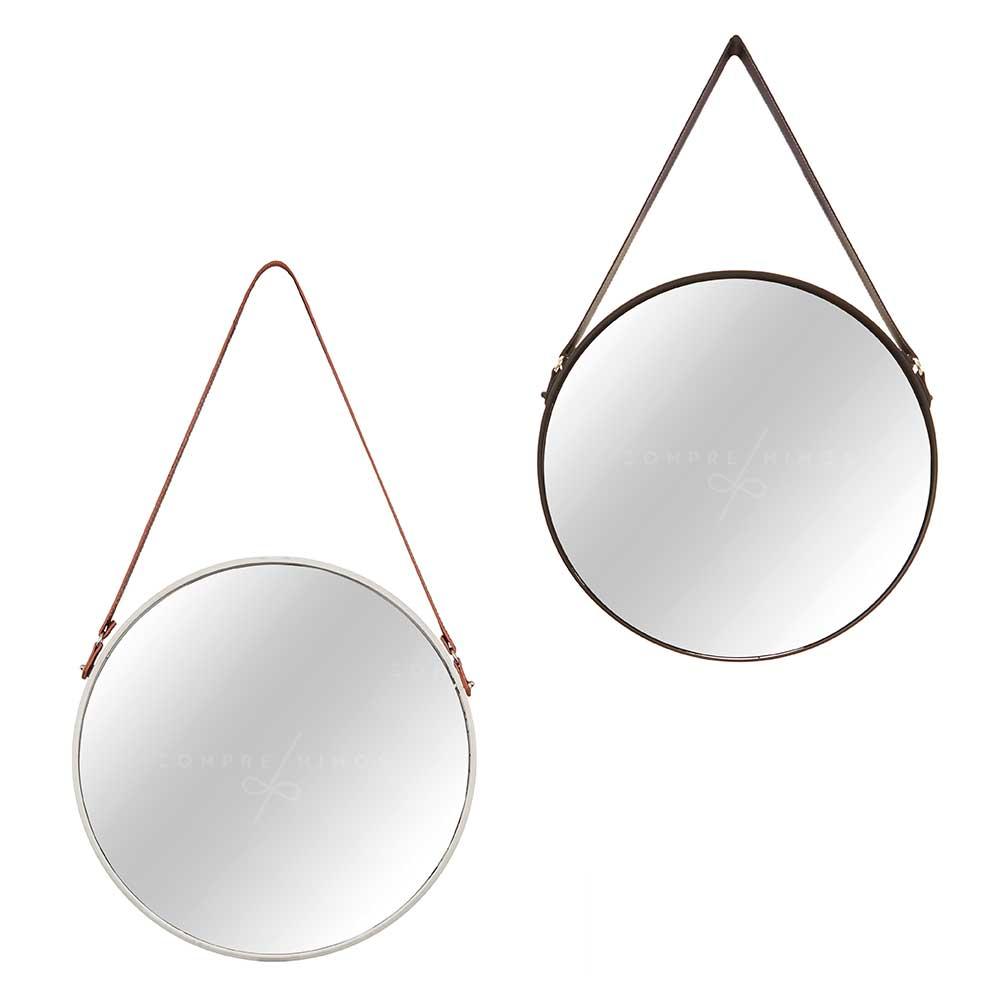 Espelho Adnet em Metal com Alça em Corino - Off White ou Black - 45cm