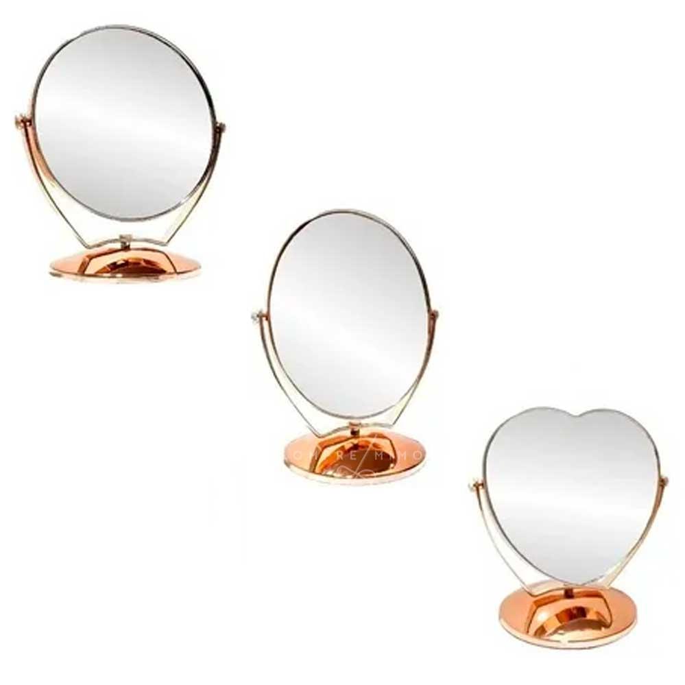 Espelho de Mesa Rose Gold - Redondo, Oval ou Coração