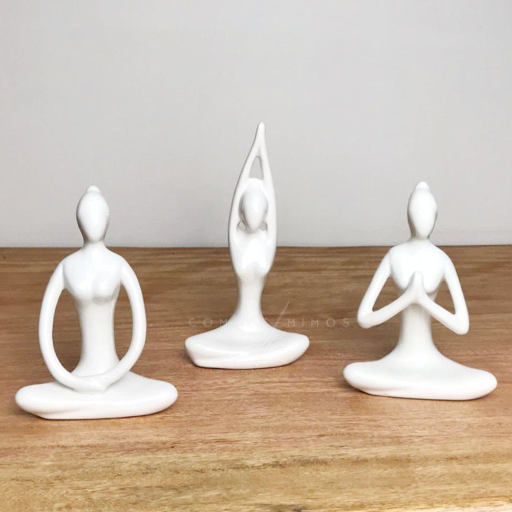 Estátua Yoga Branca - 3 Posições