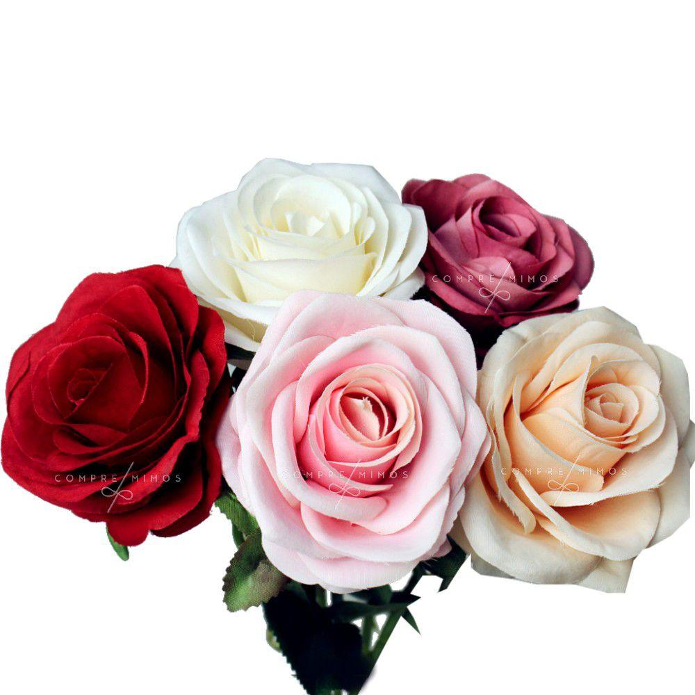Flor Permanente Rosas G - 5 Opções de Cores - Unidade