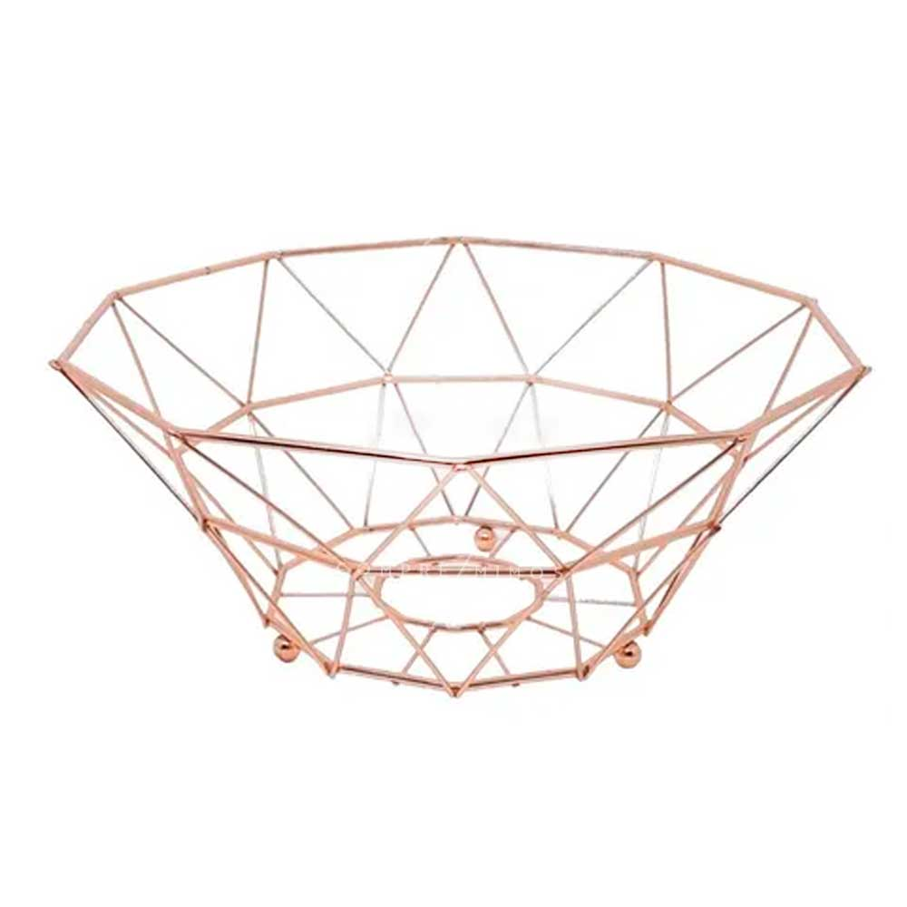 Fruteira/Cesto Geométrica Rose Gold Cromada - 13x25cm