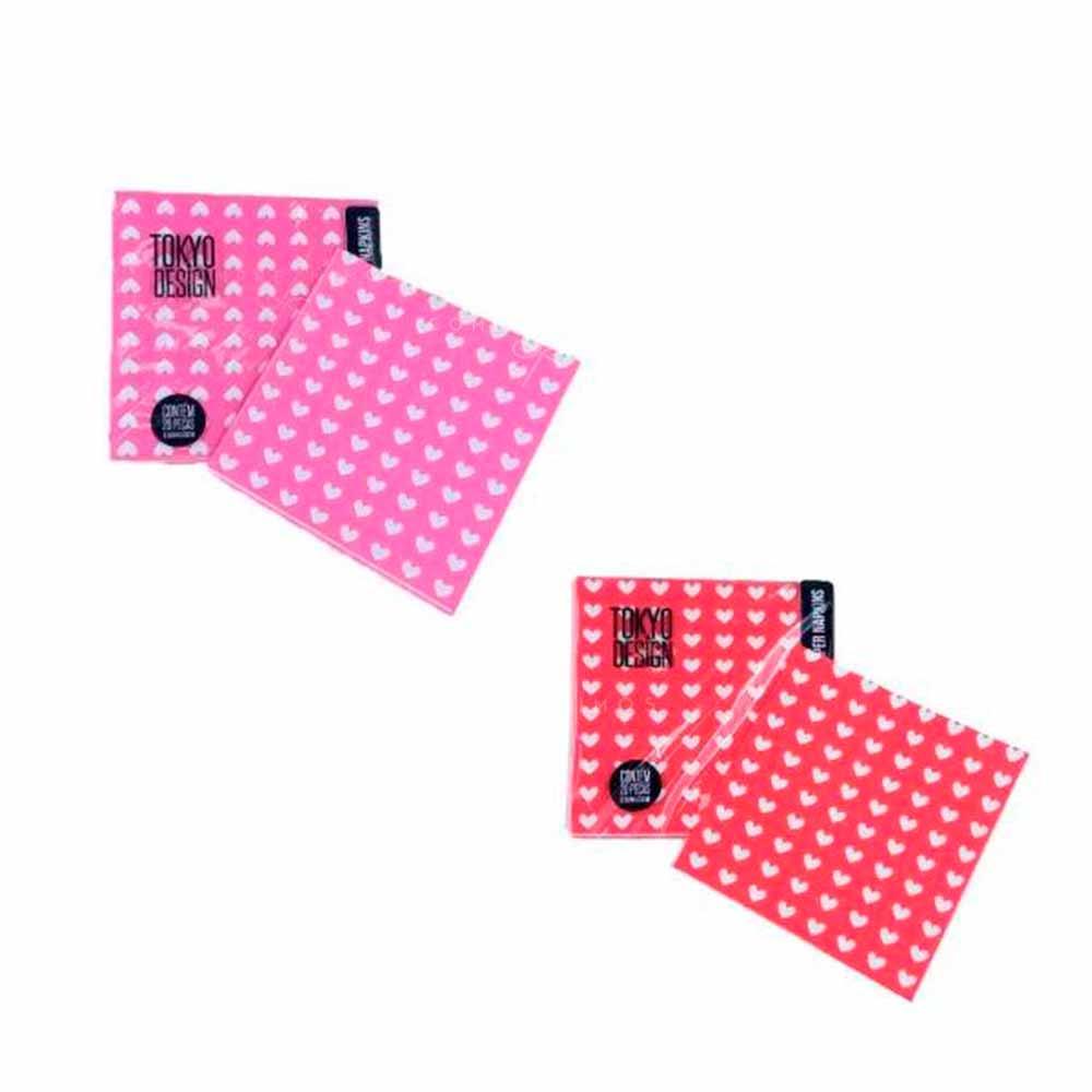 Guardanapo de Papel Corações - Embalagem c/ 23 peças de 33cm - Vermelho Ou Rosa