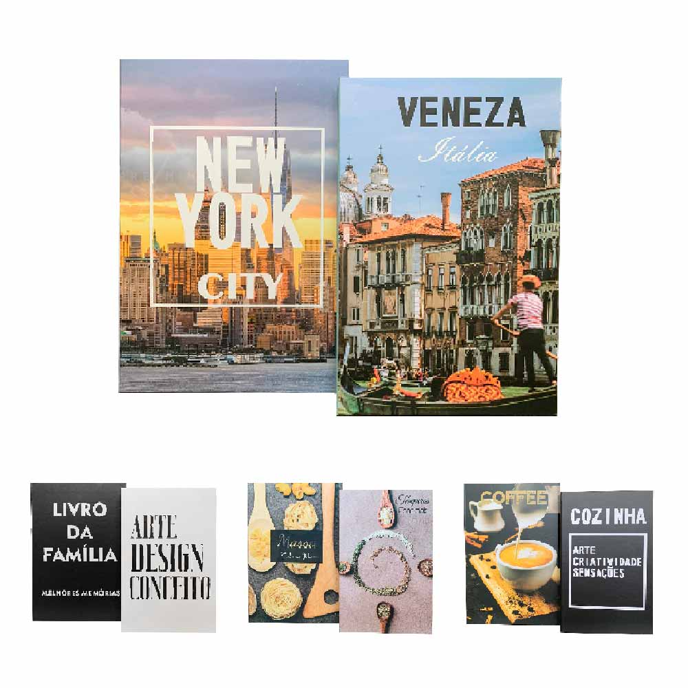 Kit 2 Livros Caixas Decorativos - 4 Opções - 3x16x24cm
