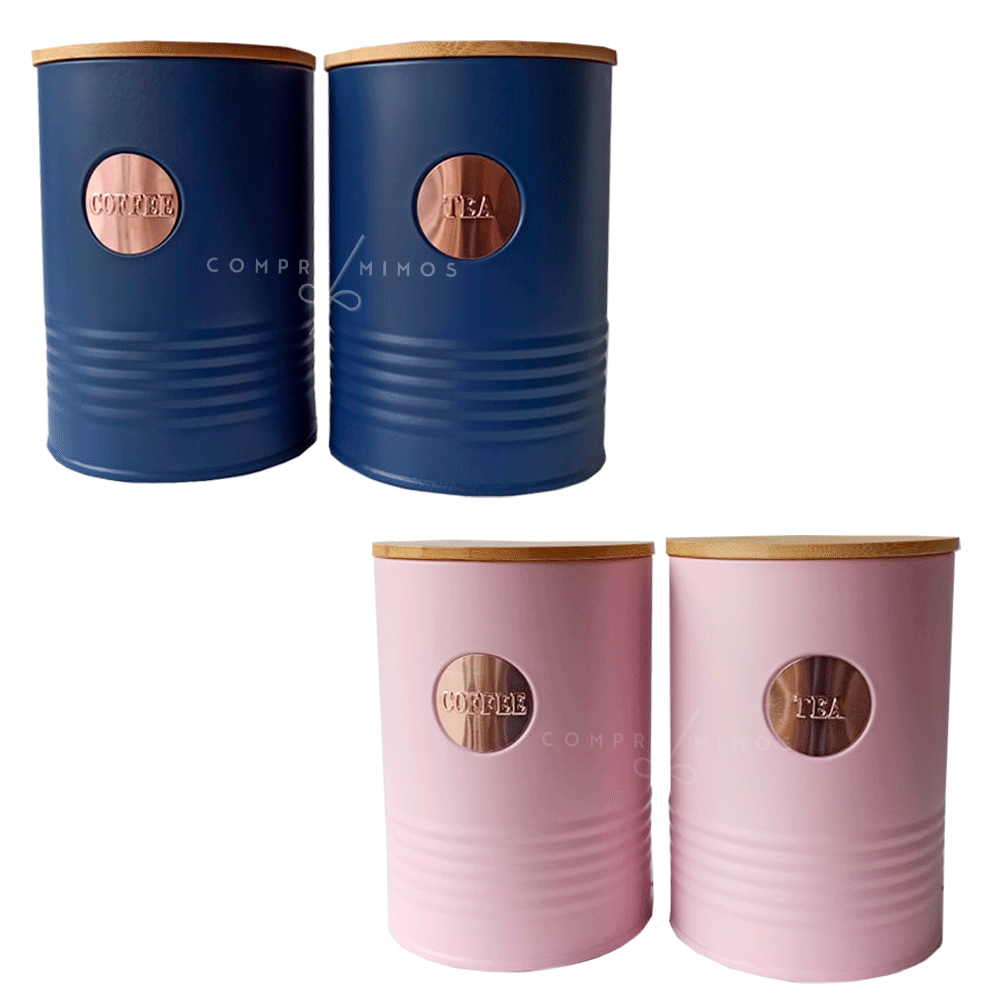 Kit 2 Porta condimentos Redondo em Lata e Tampa de Bambu - Rosa, Azul ou Cinza