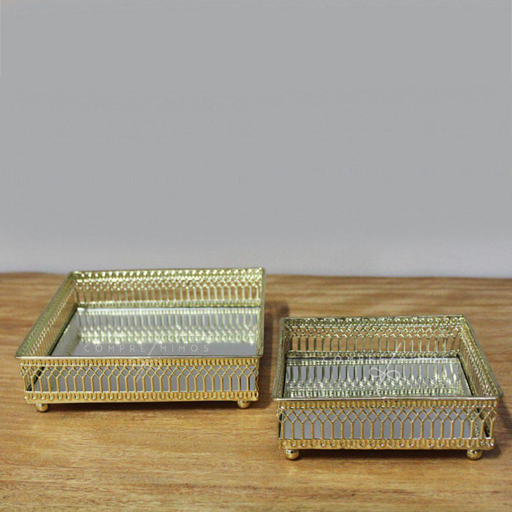 Kit Bandeja Decorativa Quadrada Dourada com Espelho