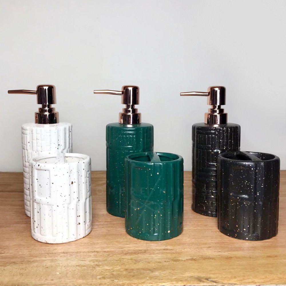 Kit Banheiro com 2 peças - Off-White, Preto ou Verde com Detalhes em Rose Gold