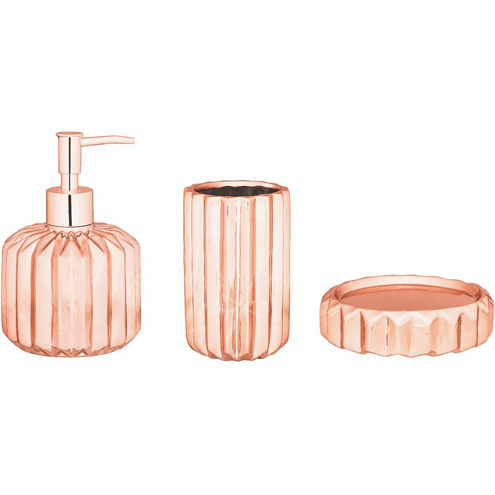 Kit Banheiro Estrelar em Cerâmica Rose Gold -  3 Peças