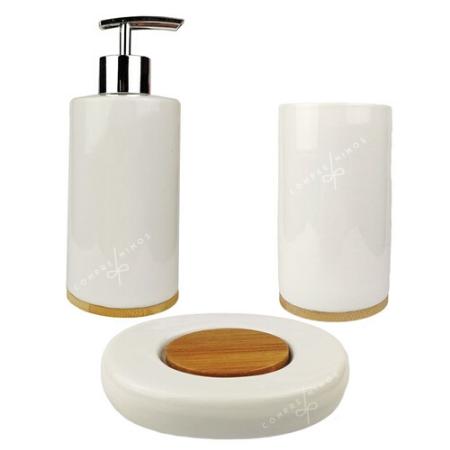 Kit Banheiro - Porcelana e Madeira