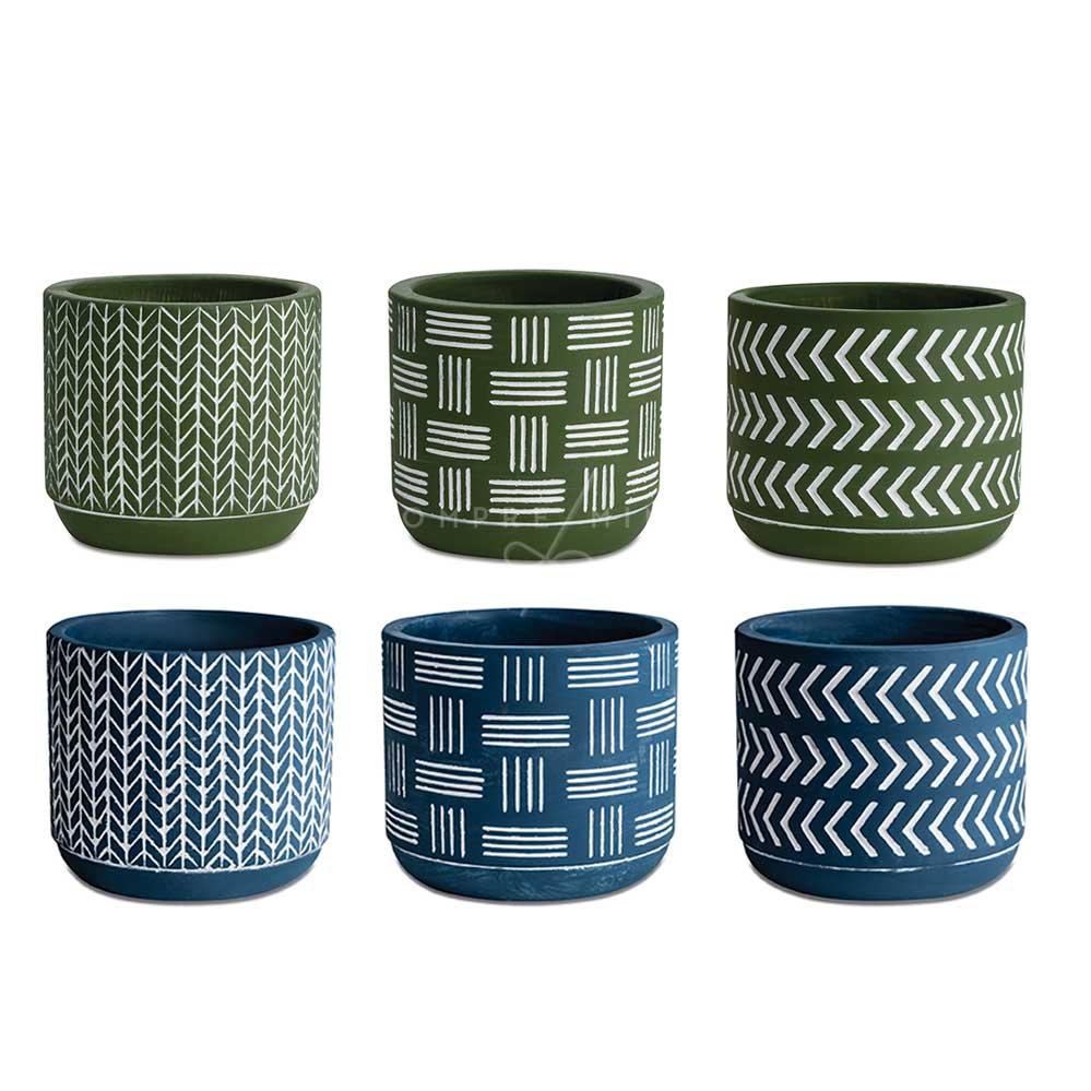 Kit Cachepô/Vaso Boho de Cimento  - Verde ou Azul