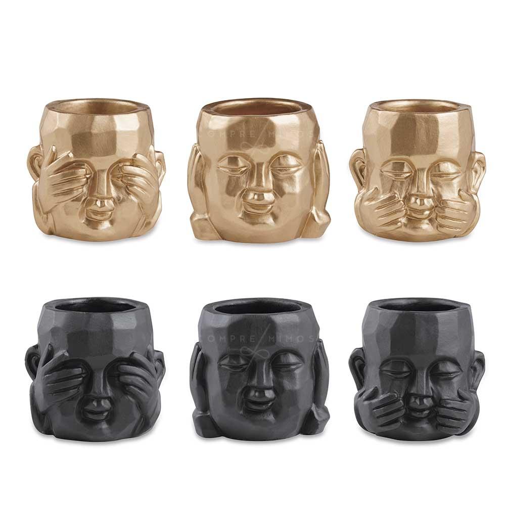 Kit Cachepôs Budinhas de Cimento - Dourado ou Black - 3pçs