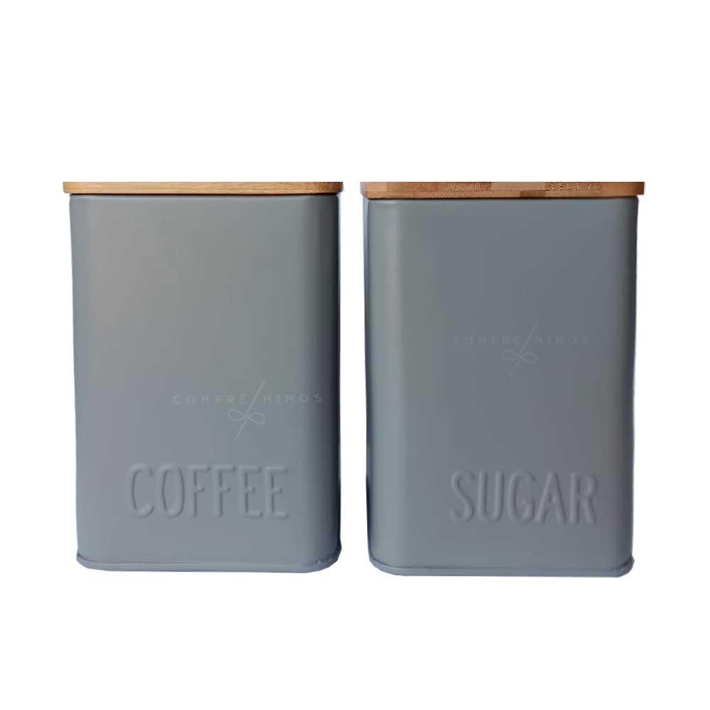 Kit Porta condimentos quadrado em Lata Cinza com Escrita em Relevo com Tampa em Bambu - Sugar e Coffee