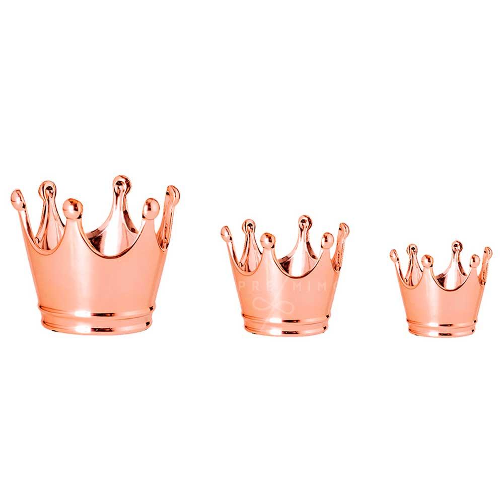 Kit Pote Coroa em Cerâmica -  Rose Gold ou Dourado – 3 Pcs