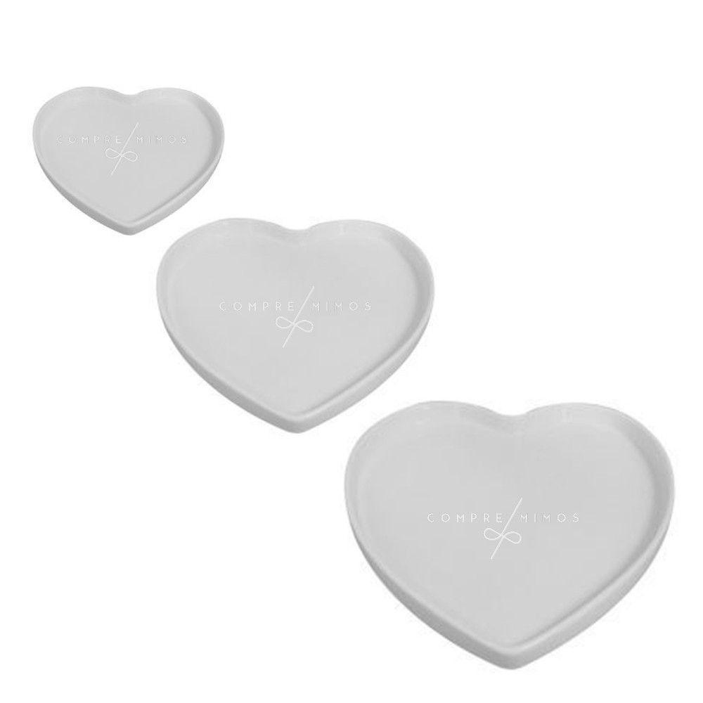 Pratinho ou Porta Jóia em Louça -  Coração Branco