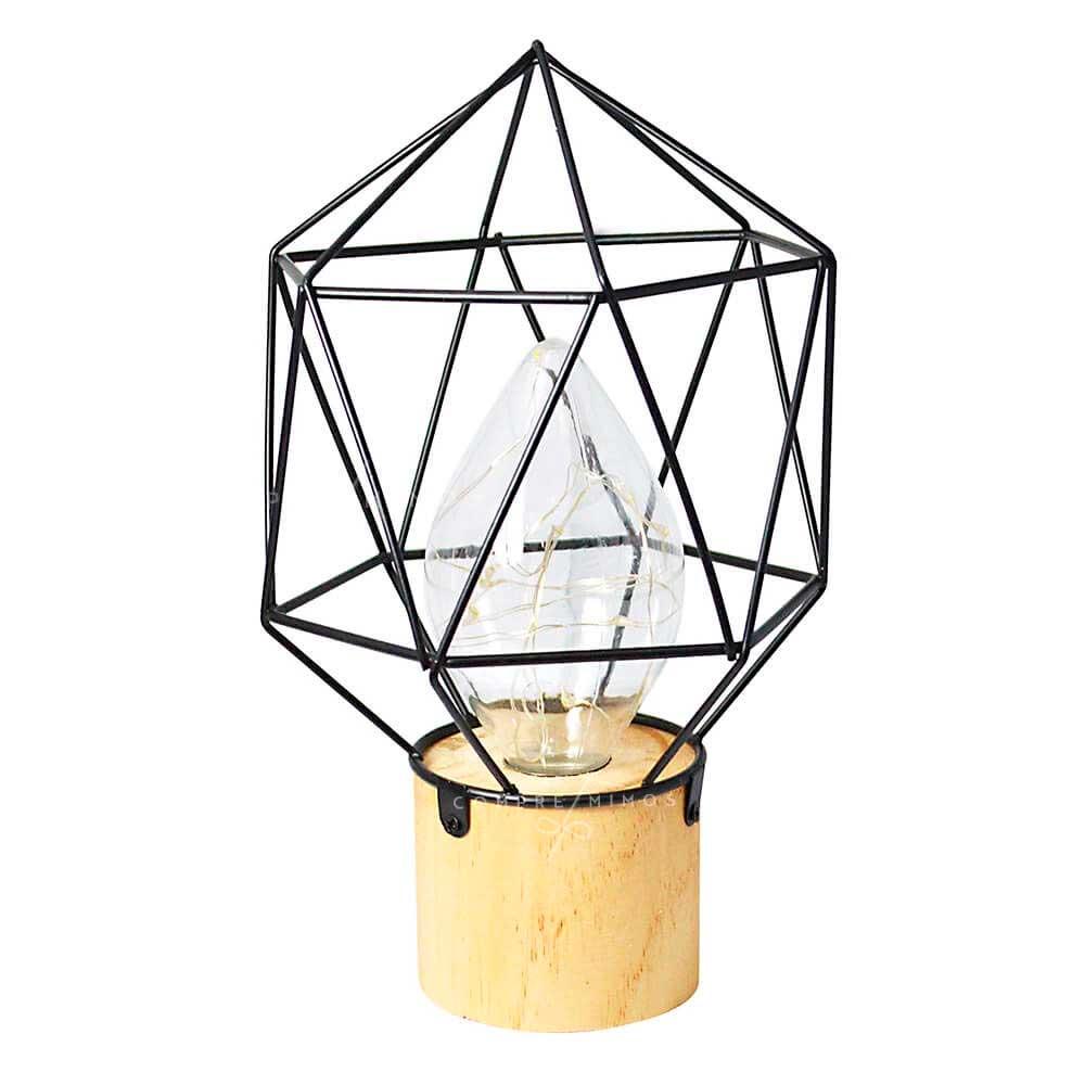 Luminária de Diamante Aramado Black com Base em Madeira - 3 Pilhas AAA - 23,5X14cm