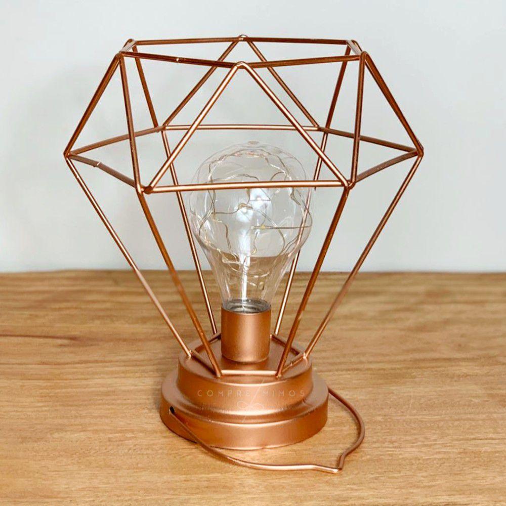 Luminária de Diamante Aramado com Alça - Rose Gold - 3 Pilhas AAA