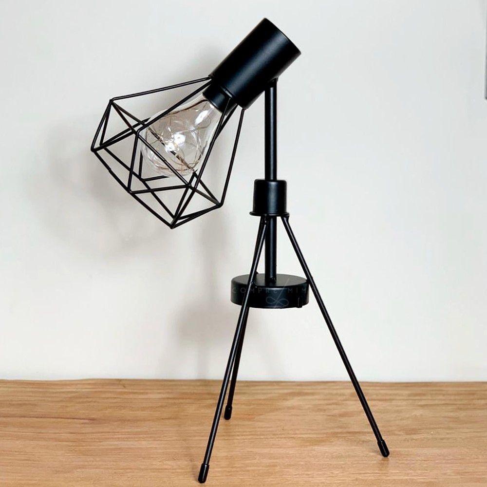 Luminária de Diamante Aramado com Tripé - Preta - 3 Pilhas AAA - 38x20cm