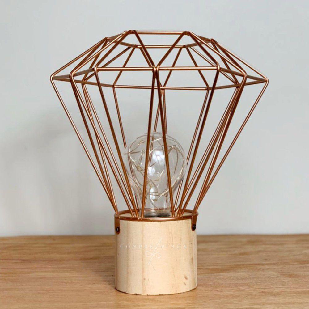 Luminária de Diamante Aramado com Base em Madeira - Rose Gold - 3 Pilhas AAA -30x15cm