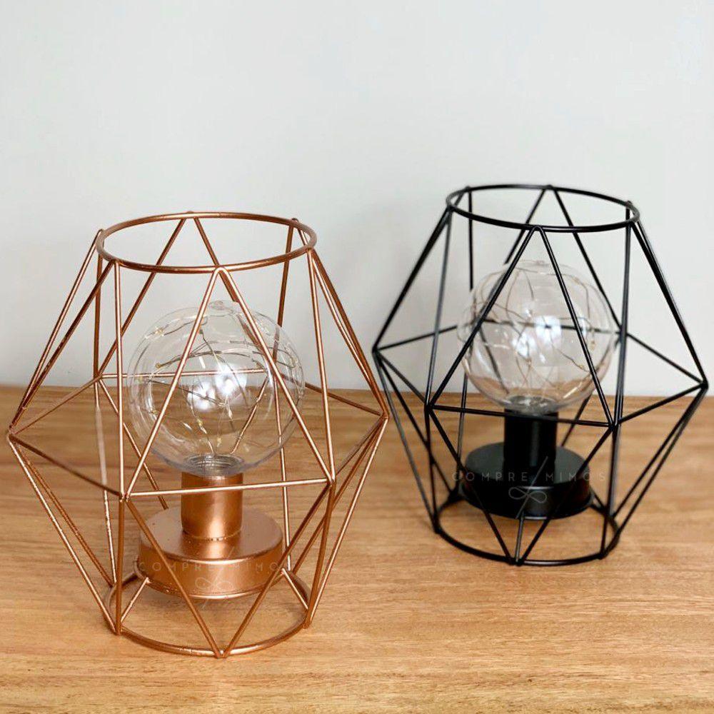 Luminária de Diamante Aramado - Preta ou Rose Gold - 3 Pilhas AAA -17x16cm - Un