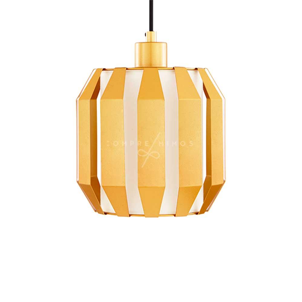 Luminária Pendente Golden com Cúpula Interna em Tecido -23x23cm