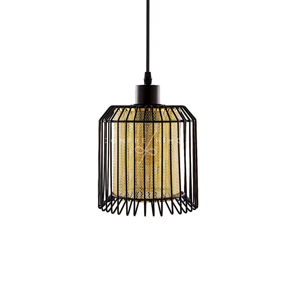 Luminária Pendente Industrial com Cúpula Interna Dourada - 160x36x36cm