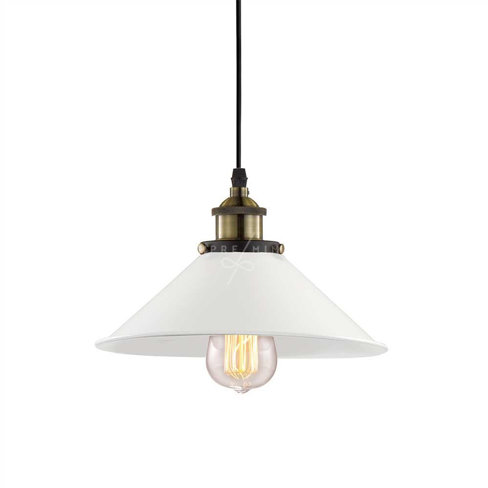 Luminária Pendente Retro Branca - 23x23x11cm