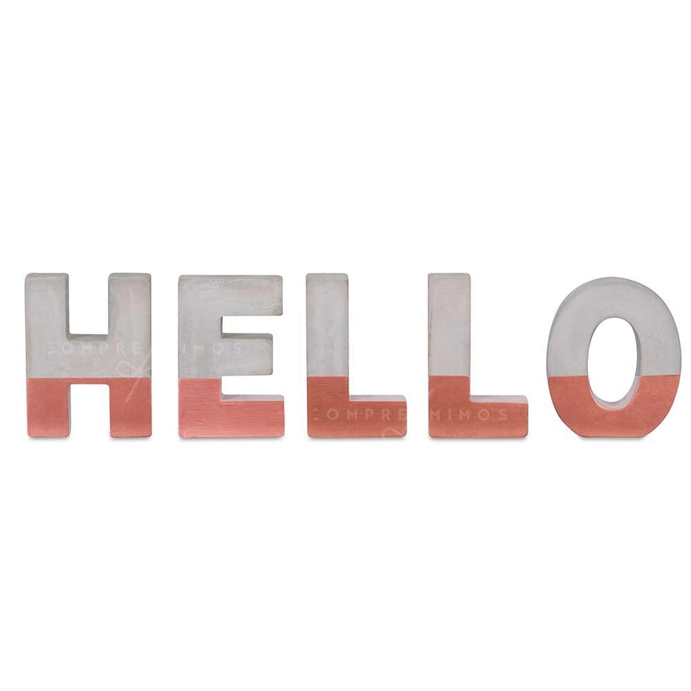 Palavra Hello em Cimento com Rose Gold - 13x43cm
