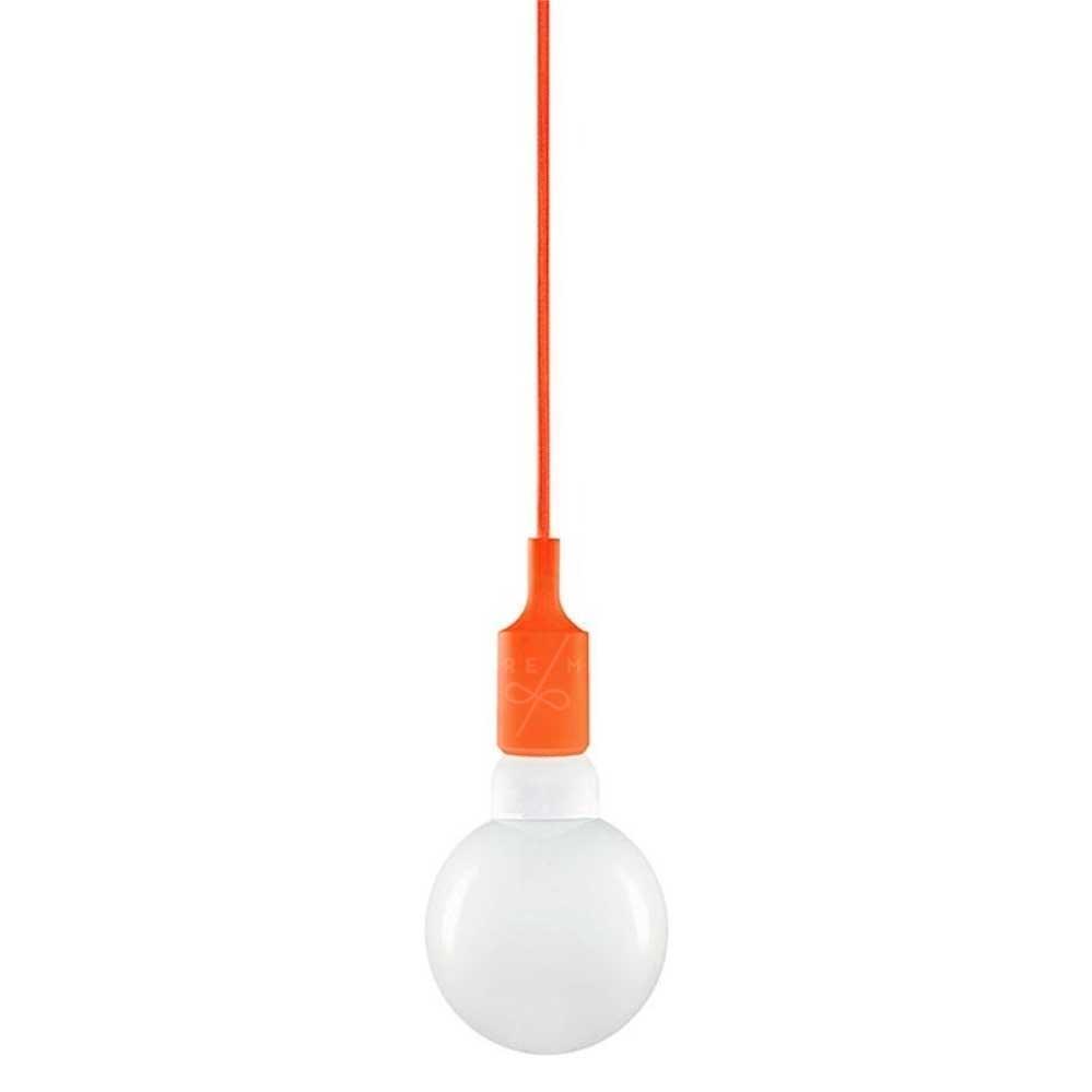 Luminária/Pendente Soquete Silicone Laranja - 11x10cm - Unidade