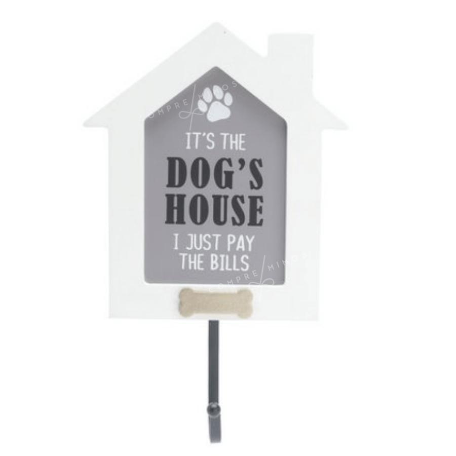 Placa Madeira Com Gancho DOG'S HOUSE
