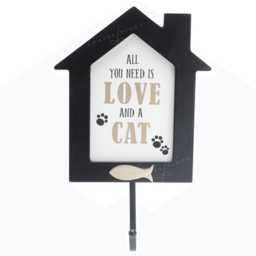 Placa Madeira Com Gancho LOVE CAT