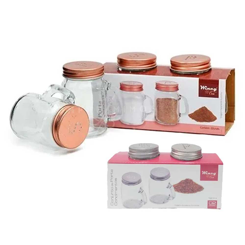 Porta Condimentos/Tempero de Vidro Com Alça e Tampa em Metal Rose Gold ou Prata - 2 Unidades - 120ml