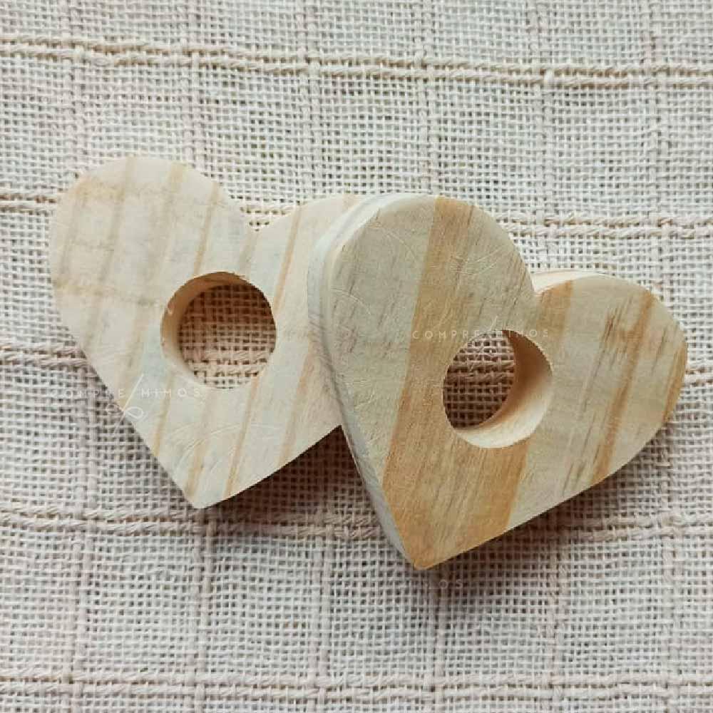 Porta Guardanapo Coração de Pinus - Kit com 2 ou 4 peças - 8cm
