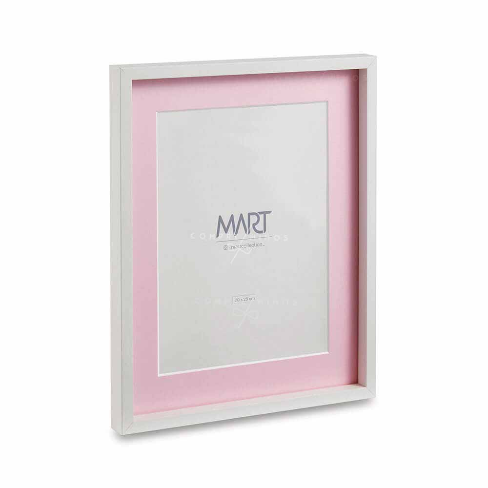 Porta Retrato em MDF Branco com interior em rosa - 31x26x2cm - UN