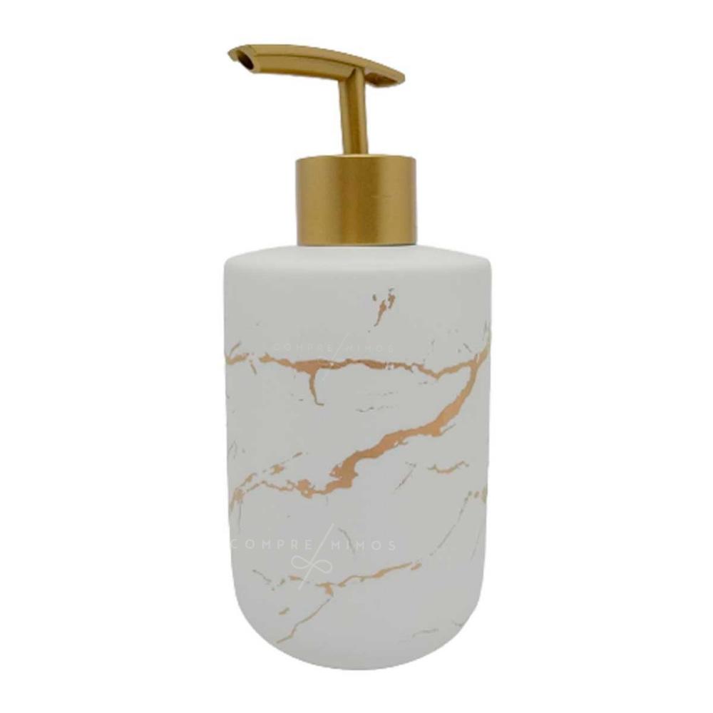 Porta Sabonete Líquido Marmorizado com Válvula e Detalhes Dourados - UN