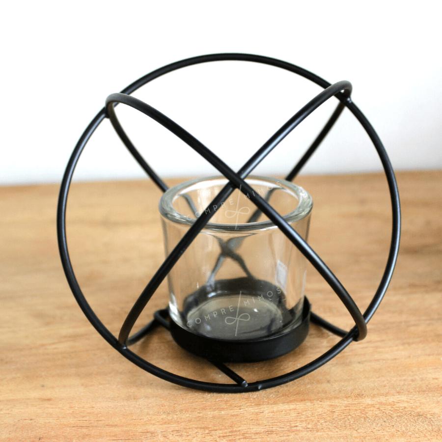 Porta Vela Esférica Com Metal e Vidro