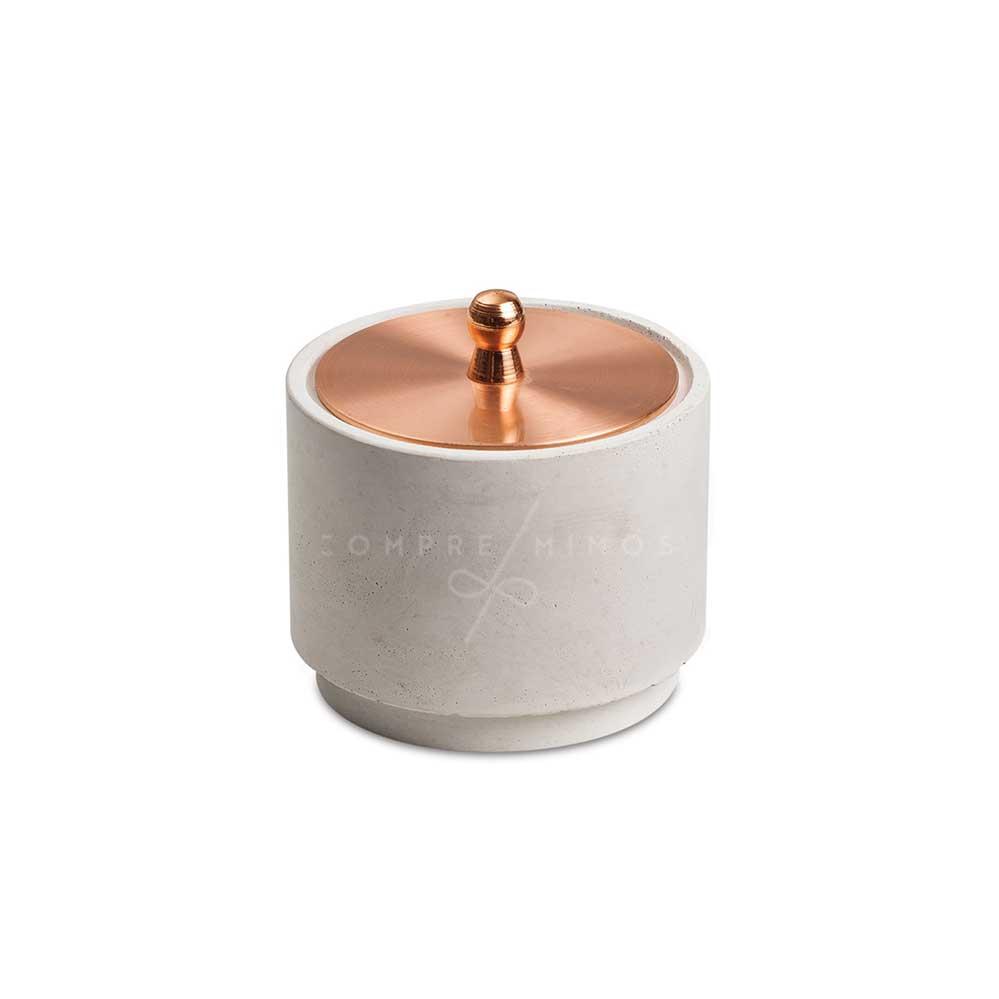 Pote Cimento e Tampa em Metal Rose  - 35,5x6cm - Un