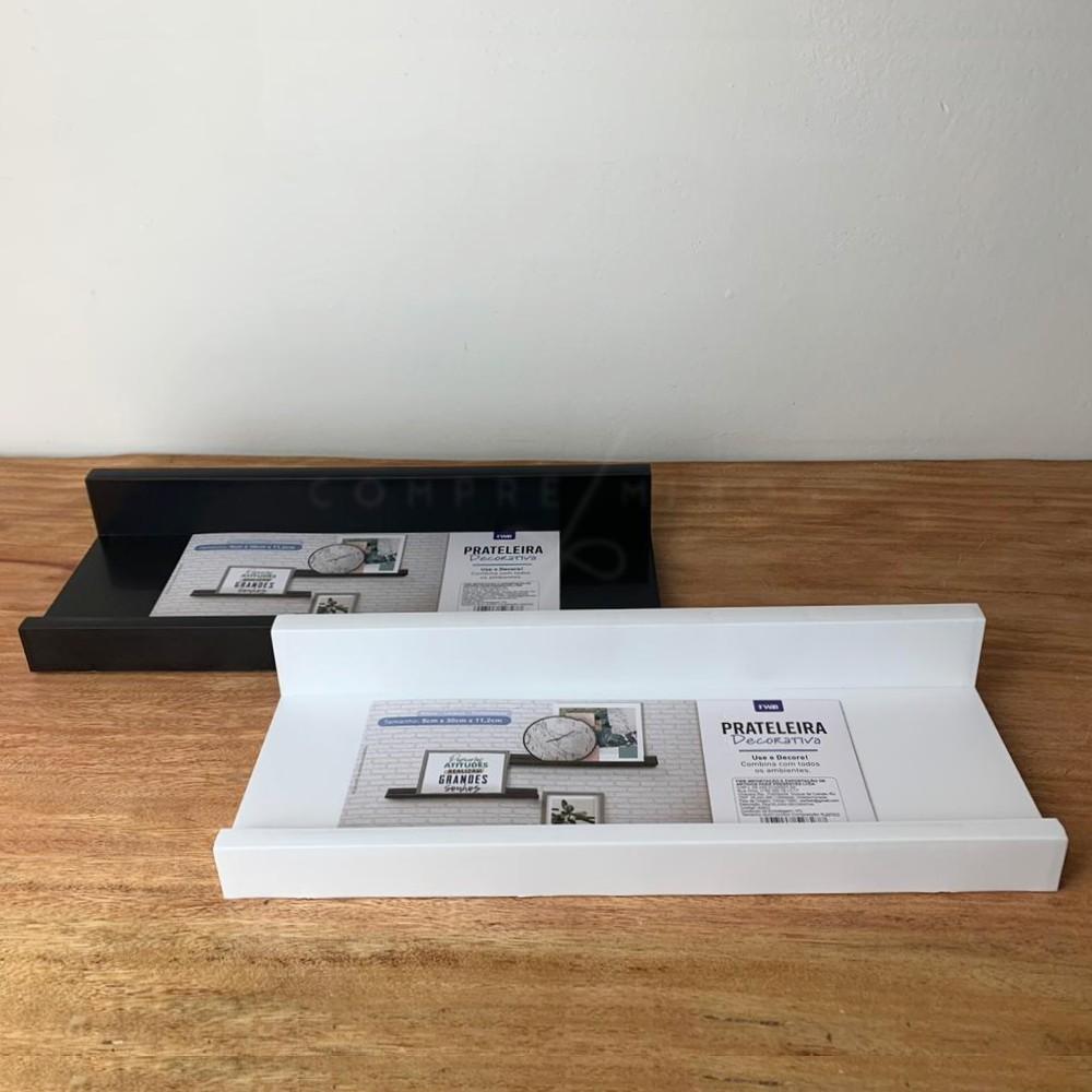 Prateleira Decorativa para Quadros/Livros - Preta ou Branca - M: 5x30x11,2cm