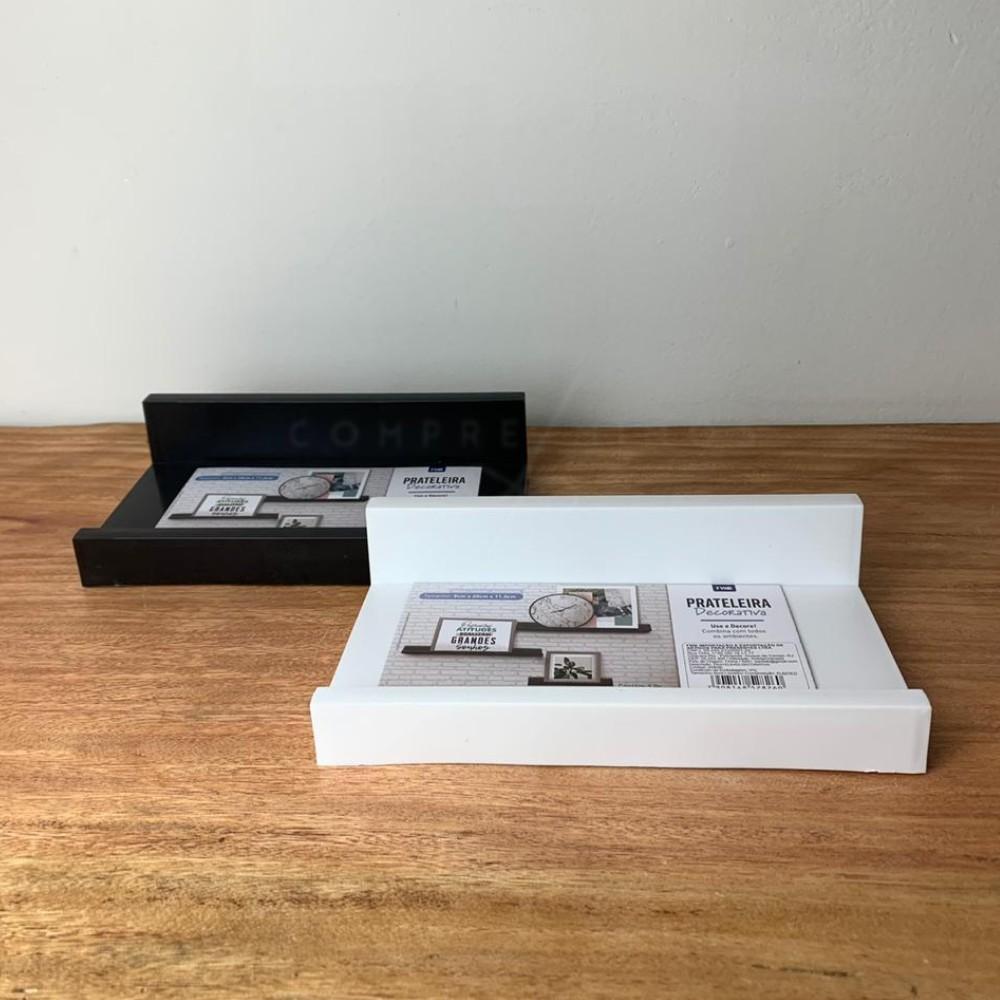 Prateleira Decorativa para Quadros/Livros - Preta ou Branca - P: 5x20x11,2cm