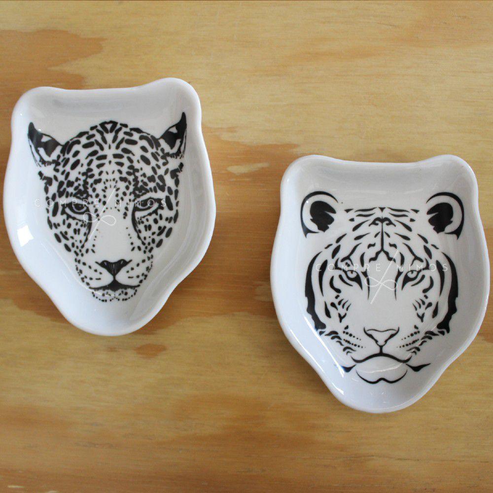 Porta anéis Porcelana Jaguar/Tigre Face Branco