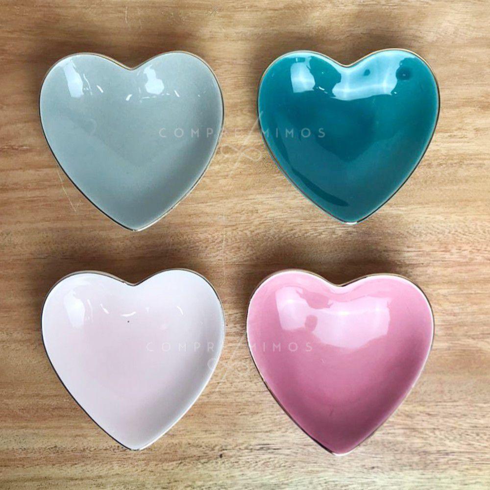 Pratinho Coração Colors com Borda em Dourado - Cerâmica - 4 opções de cores