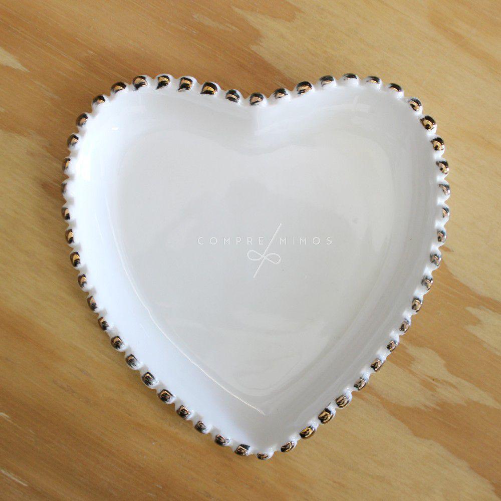 Pratinho Coração de Cerâmica com Borda em Poa Dourado