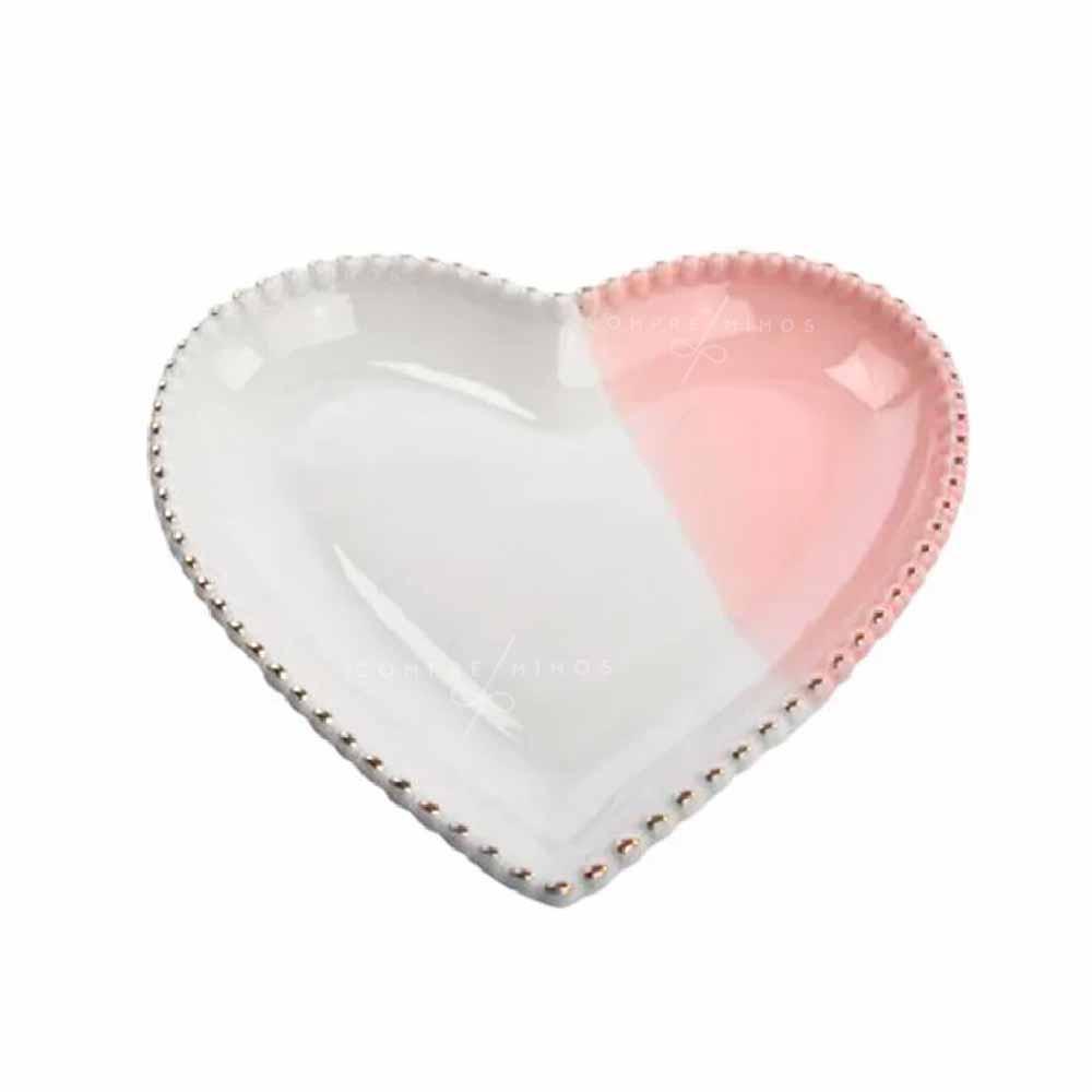 Pratinho de Coração em Cerâmica - Off White e Rosa com Borda em Poa Dourado - 2x16x17 - UN