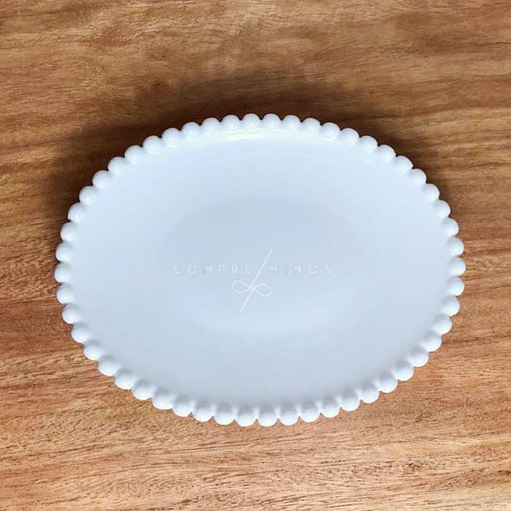 Pratinho Oval de Cerâmica com Borda em Poa -19x14,5cm
