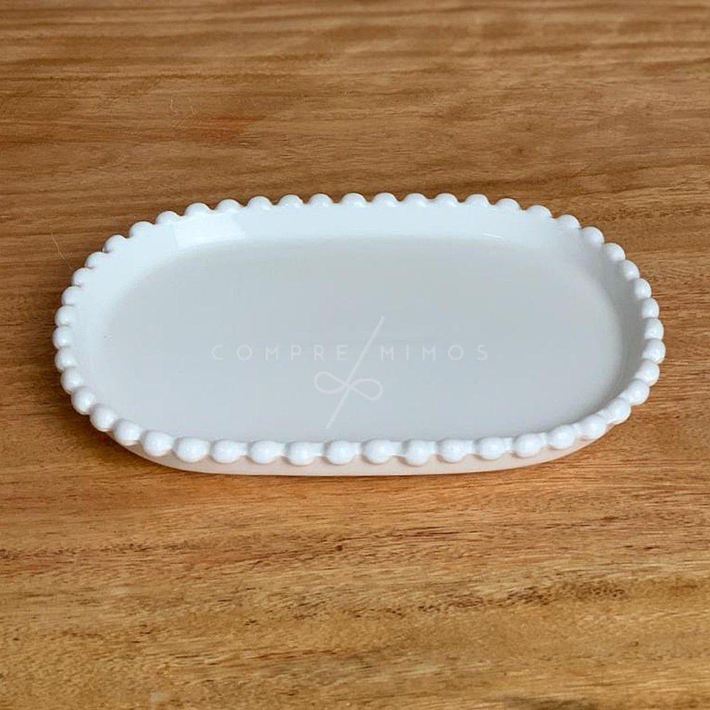 Pratinho Oval de Cerâmica com Borda em Poa - 19x13,4cm