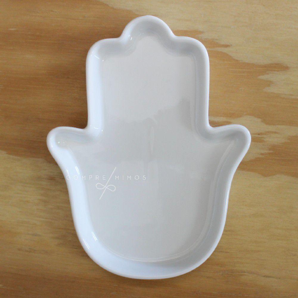 Porta Joia/Pratinho Mão de Fátima de Cerâmica Branco
