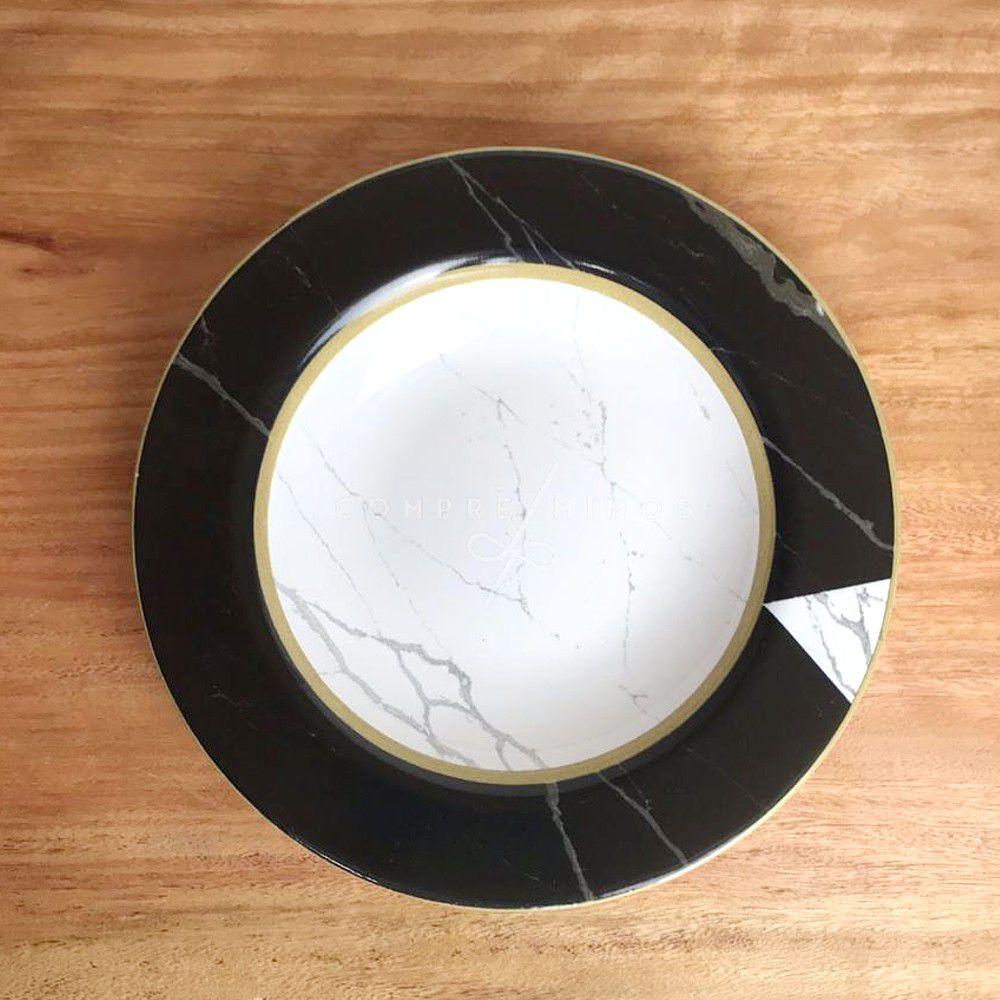 Prato de Sopa/Fundo Marmorizado - 24,5cm