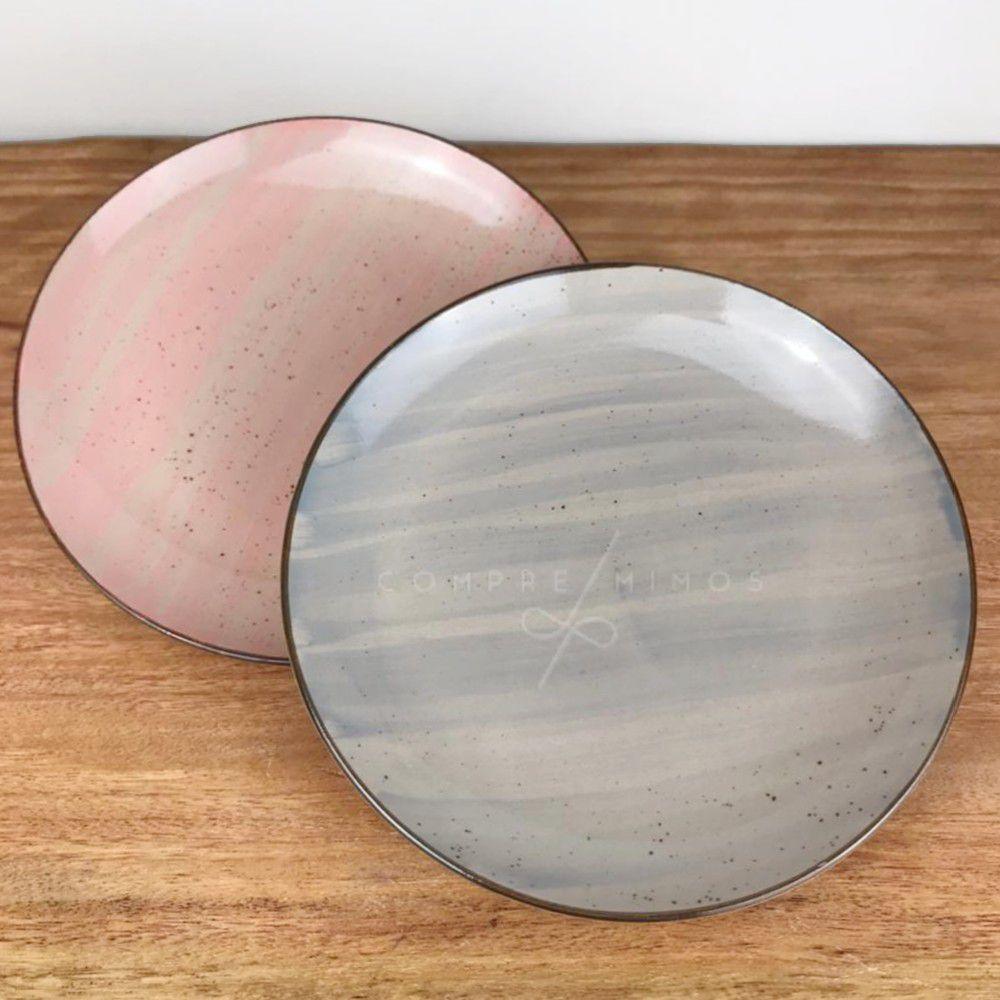 Prato Para Sobremesa Watercolor - Kit 2 Unidades - Rosa Ou Cinza - 19cm