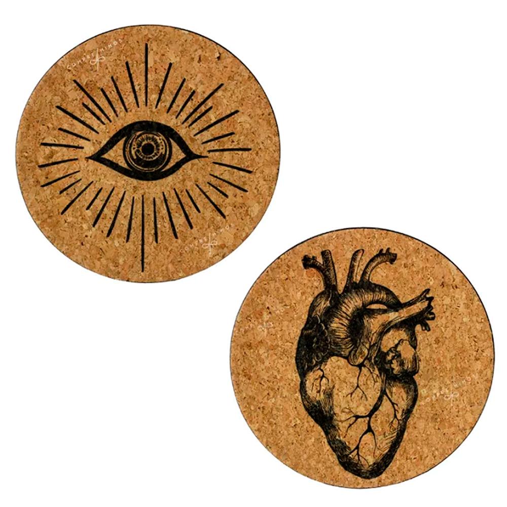 Prato/Quadro em Cortiça - Coração ou Olho - 25cm - UN