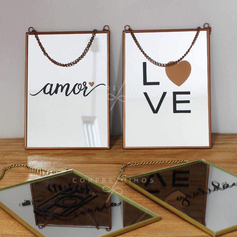 Quadro/Espelho com Corrente - Rose Gold ou Dourado - 4 Modelos