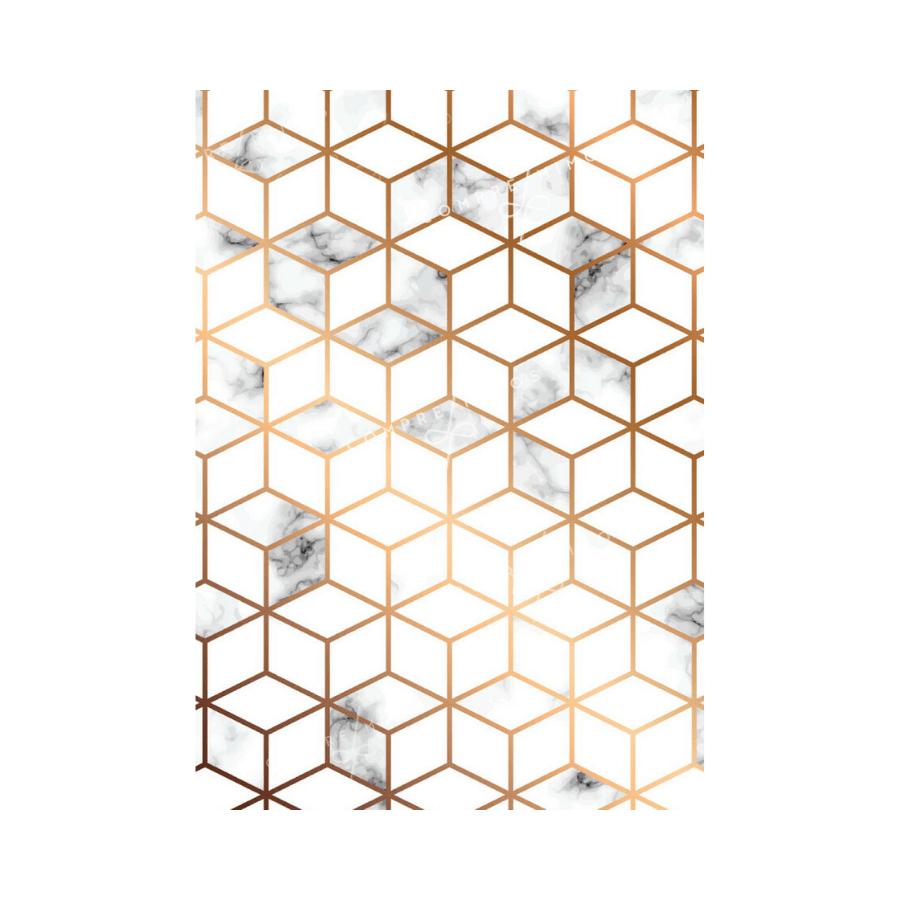 Quadro Geométrico Cubo Branco