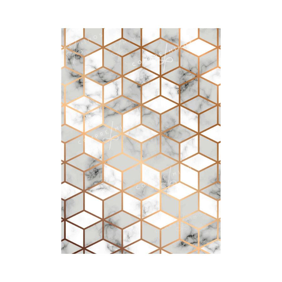Quadro Geométrico Cubo Mármore